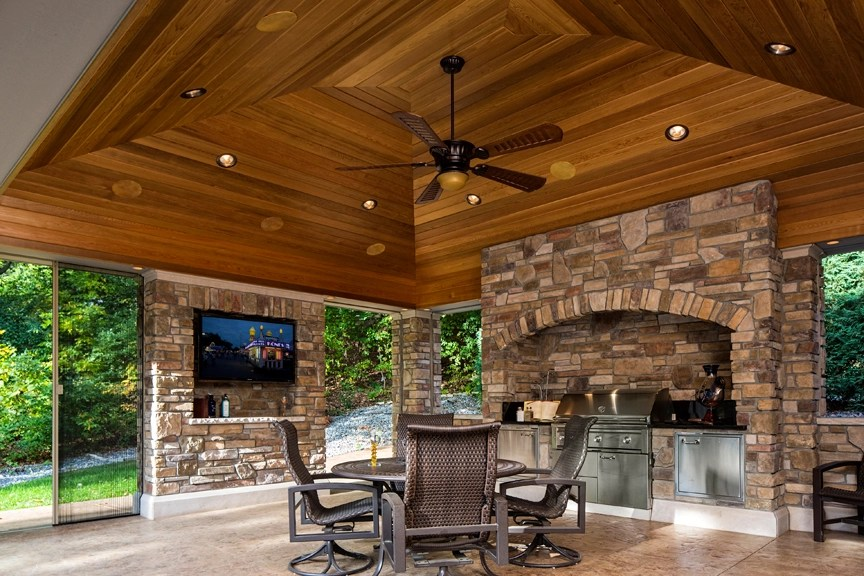 An Outdoor Sanctuary for the Season - McDonald Remodeling on Covered Outdoor Kitchen With Fireplace id=96655