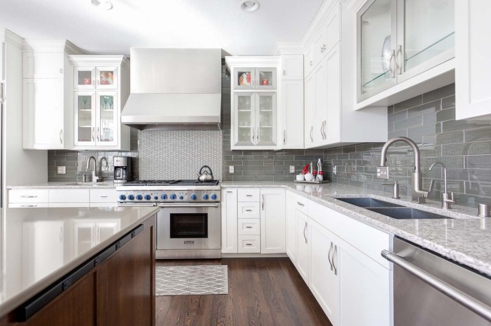 White kitchen with Thermador range and appliances