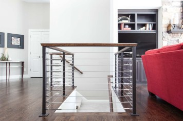 Stairs with stainless steel cable railing