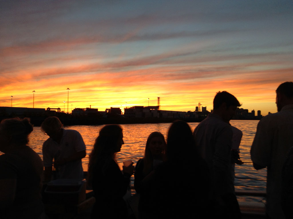 Boston sunset seen from Liberty Clipper