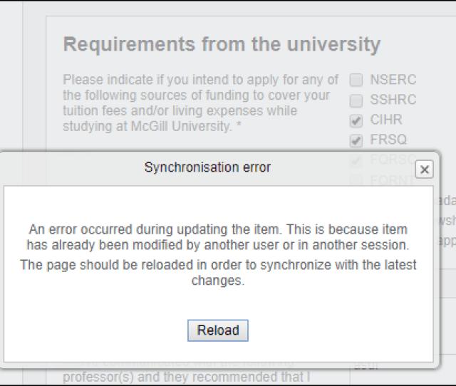 Uapply Graduate Admissions System Synchronization Error When Saving