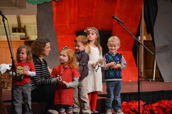 """Some of the McGill children during the production of """"Christmas in a Barn"""""""