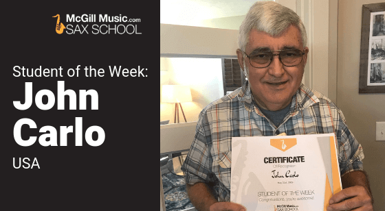John is our Sax School Student of the Week