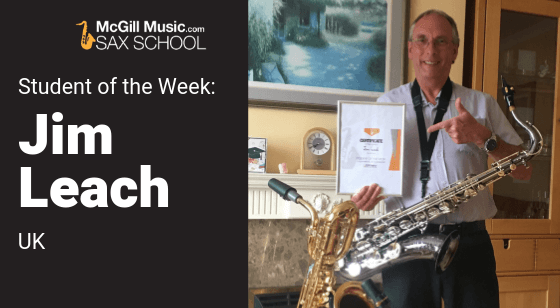 Jim Leach is Sax School Student of the Week