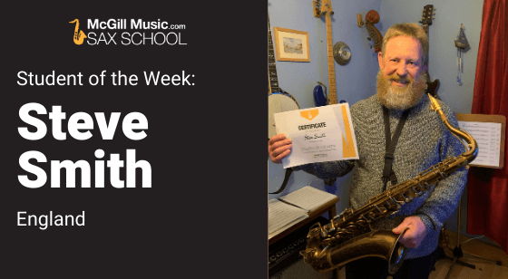 Steve is Sax School Student of the Week