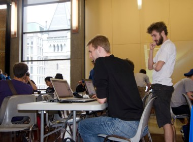 Hackers at work during the all-day event (Alexandra Allaire / McGill Tribune)