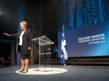 Parti Québécois leader Pauline Marois addresses her supporters in victory rally, minutes before fatal shooting. (Simon Poitrimolt / McGill Tribune)