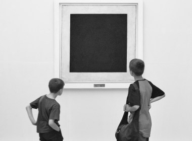 "Museum-goers baffled by Malevich's ""Black Square."" (www.sergeev.com)"