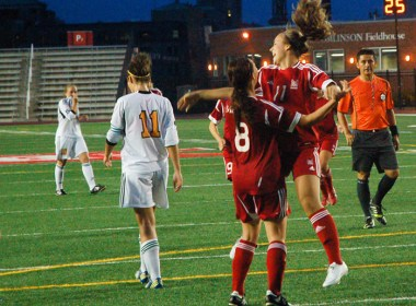 McGill Martlets soccer score a goal