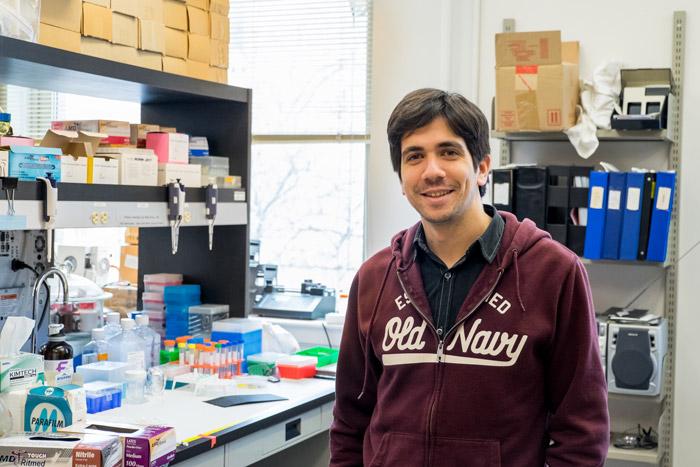 Yasser Gidi is a student in the Cosa lab. (Noah Sutton / McGill Tribune)