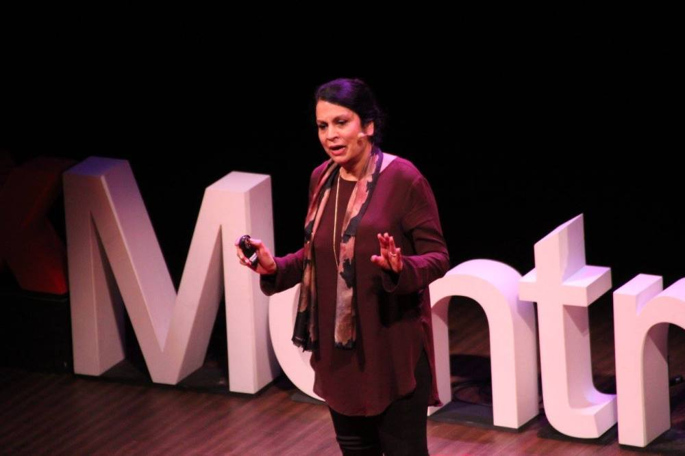 Juss Kaur speaks on religious tolerance. (Wendy Low / TEDx Montreal Women)