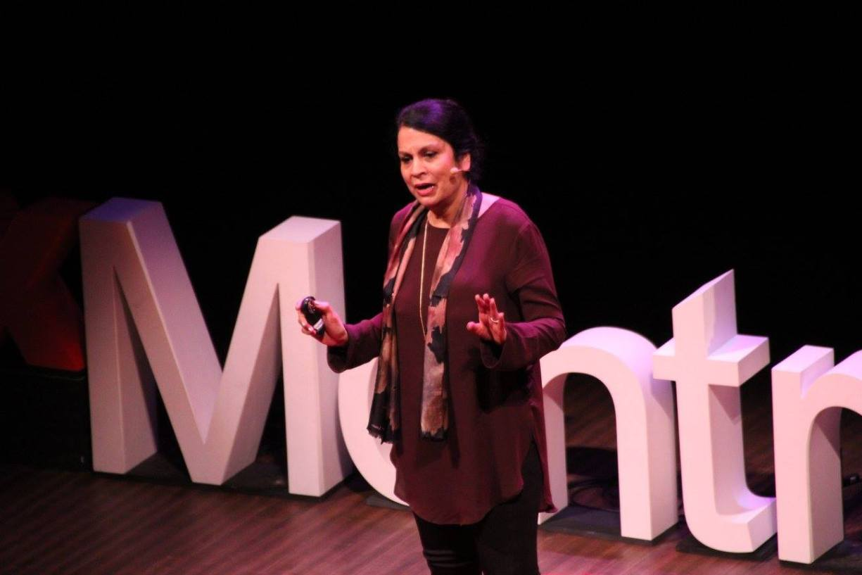 Juss Kaur speaks on religious tolerance. (Wendy Low / TEDx Montreal Women)