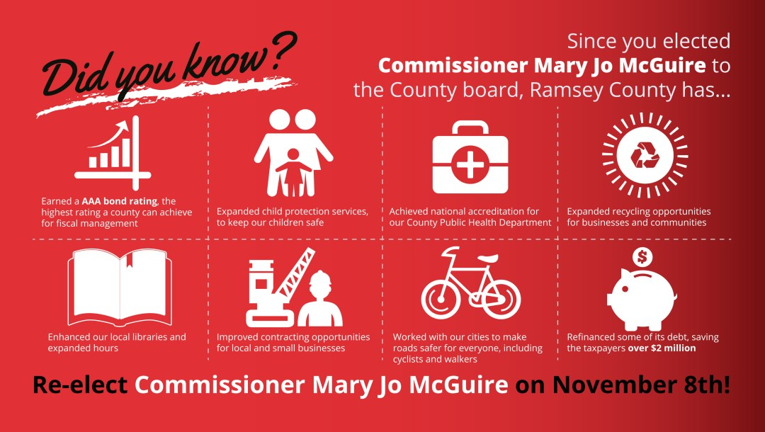 reelect mary jo mcguire infographic