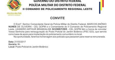 Convite Reinauguração Posto Policial PMDF