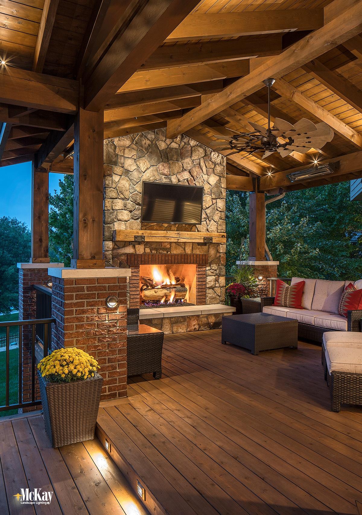 outdoor fireplace lighting ideas