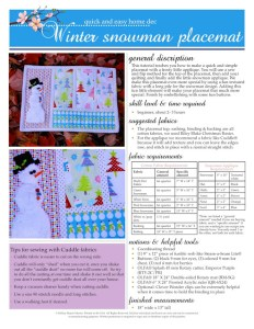 Winter Snowman Placemat Directions with Tracing Guide