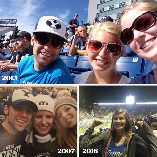 Kira, Zac and I attending BYU football games over the years