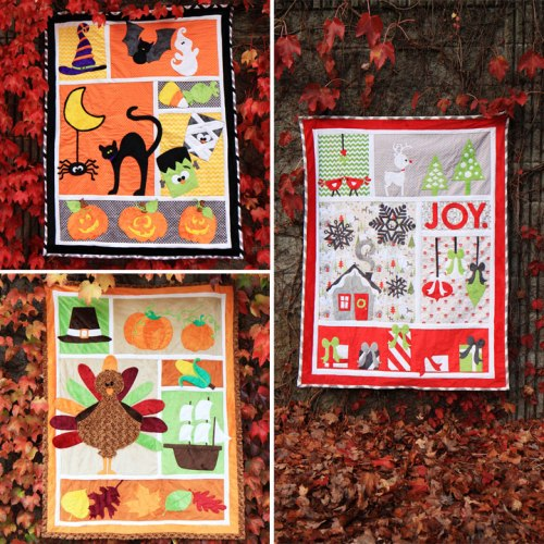 The three quilts included in the Holiday Festival 3 pack