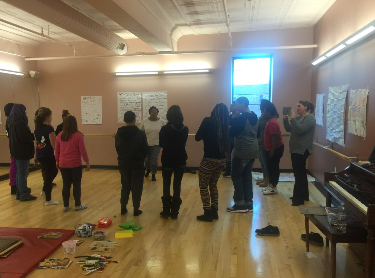 Sto-Rox Middle School students in week three of the innovative arts programming with D.S. Kinsey and Anqwenique Winfield.