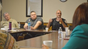 Stowe Township Police Chief Matt Preninger explains some of the hardships faced by his department at the C.A.S.H. club. Photo by Nick Peterson