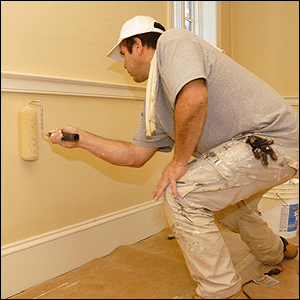 a professional painter on an interior job