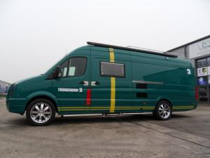 Green VW Crafter sporthome thunderbird T2