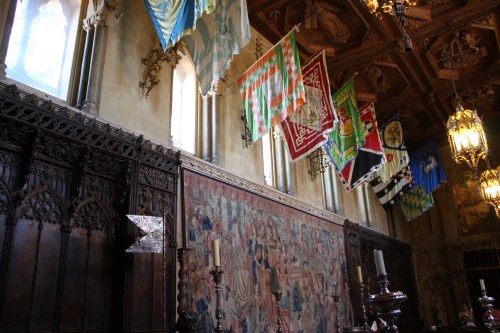 Flags and tapestry in the dining room