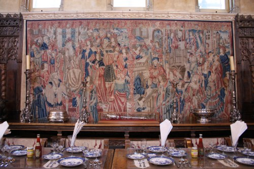 Focal point tapestry in the dining room