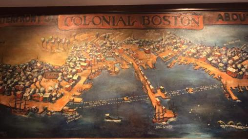 Colonial Boston map in the restaurant