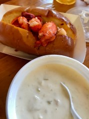 Clam chowder and a lobster roll for lunch