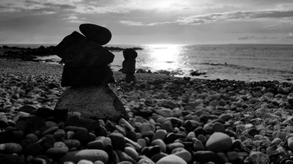 Stone balancing at Machrihanish