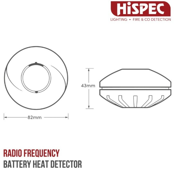 RADIO FREQUENCY LITHIUM BATTERY HEAT DETECTOR WITH 10YR SEALED LITHIUM BATTERY