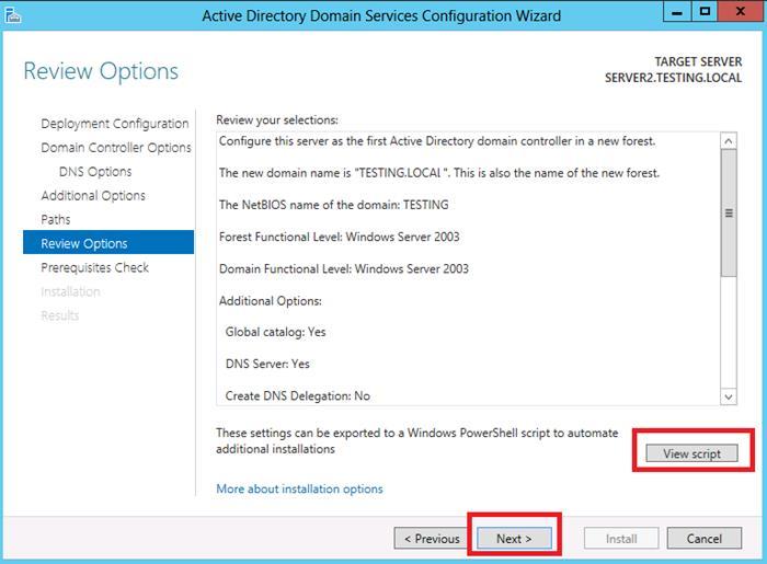 AD configuration settings