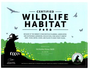 Certified Wildlife Certificate from National Wildlife Federation
