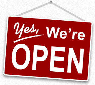 "Image of a sign saying ""yes, we're open"" for now we have not closed. We will keep you posted."