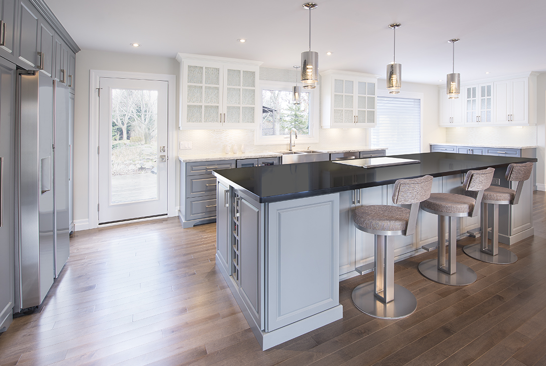 Kitchen Open Concept Island and Wall White Cabinetry
