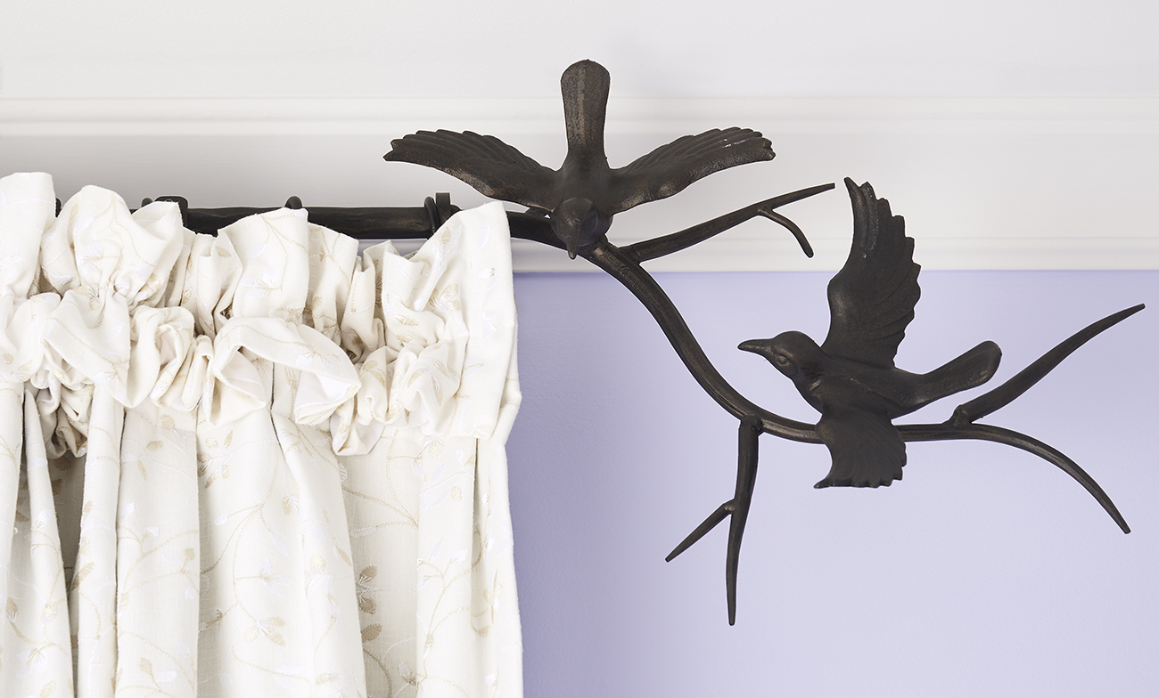 Wrought Iron Birds Curtain Rod