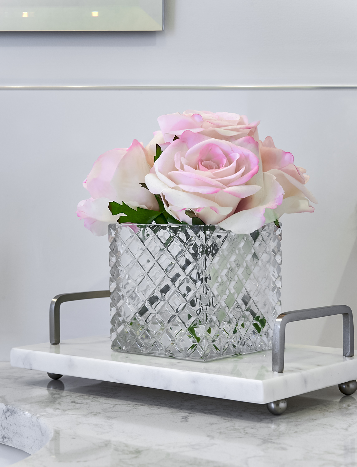 floral & marble tray vignette