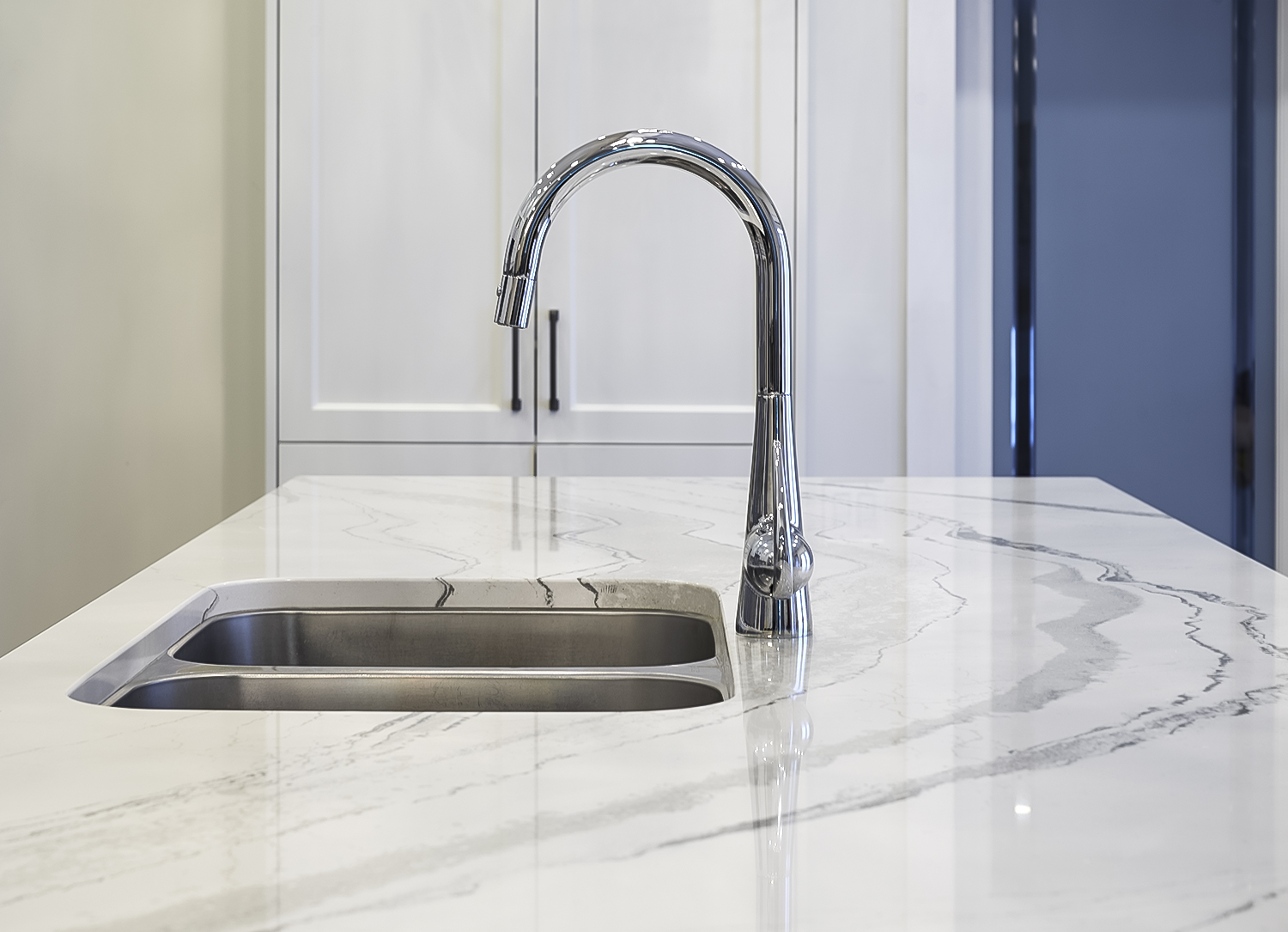 Island Cambria quartz and Grohe Faucet detail shot