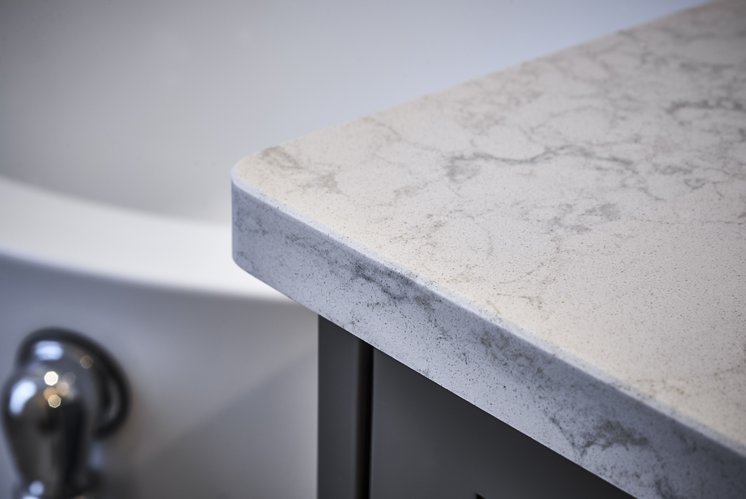 Pretty Grey & White Master Bathroom quartz counter top detail shot