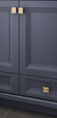 Detail of the Vanity Doors and champagne gold hardware