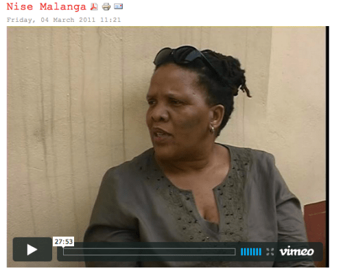 Nise Malange documentary, available at www.literarytourism.co.za