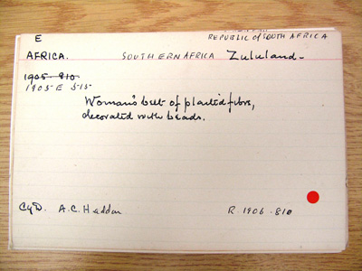 Accession card for object number E1905.515 in the Museum of Archaeology and Anthropology in Cambridge
