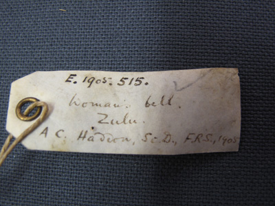 Tag attached to object number E1905.515 in the Museum of Archaeology and Anthropology in Cambridge