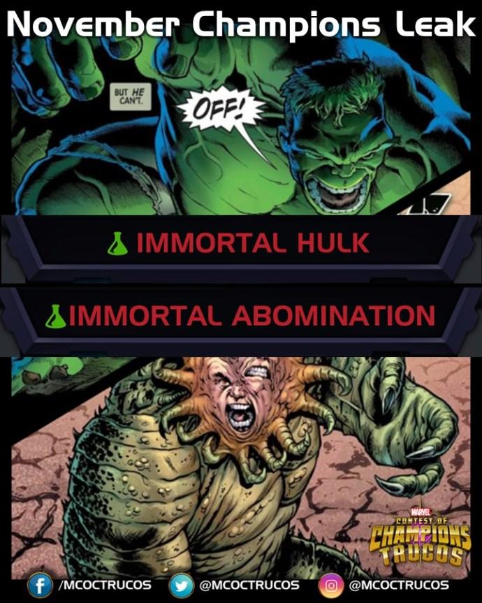 Immportal hulk and immortal abomination