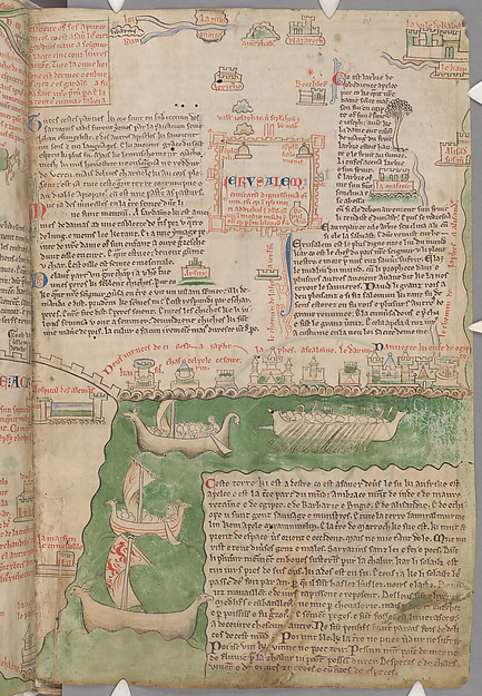 From the exhibition: a map of the holy land From Chronica majora, volume I, Saint Albans, England, circa 1240 – 53. Written and illustrated by Matthew Paris. Opaque watercolor and ink on parchment. Photograph: The Master and Fellows of Corpus Christi College, Cambridge