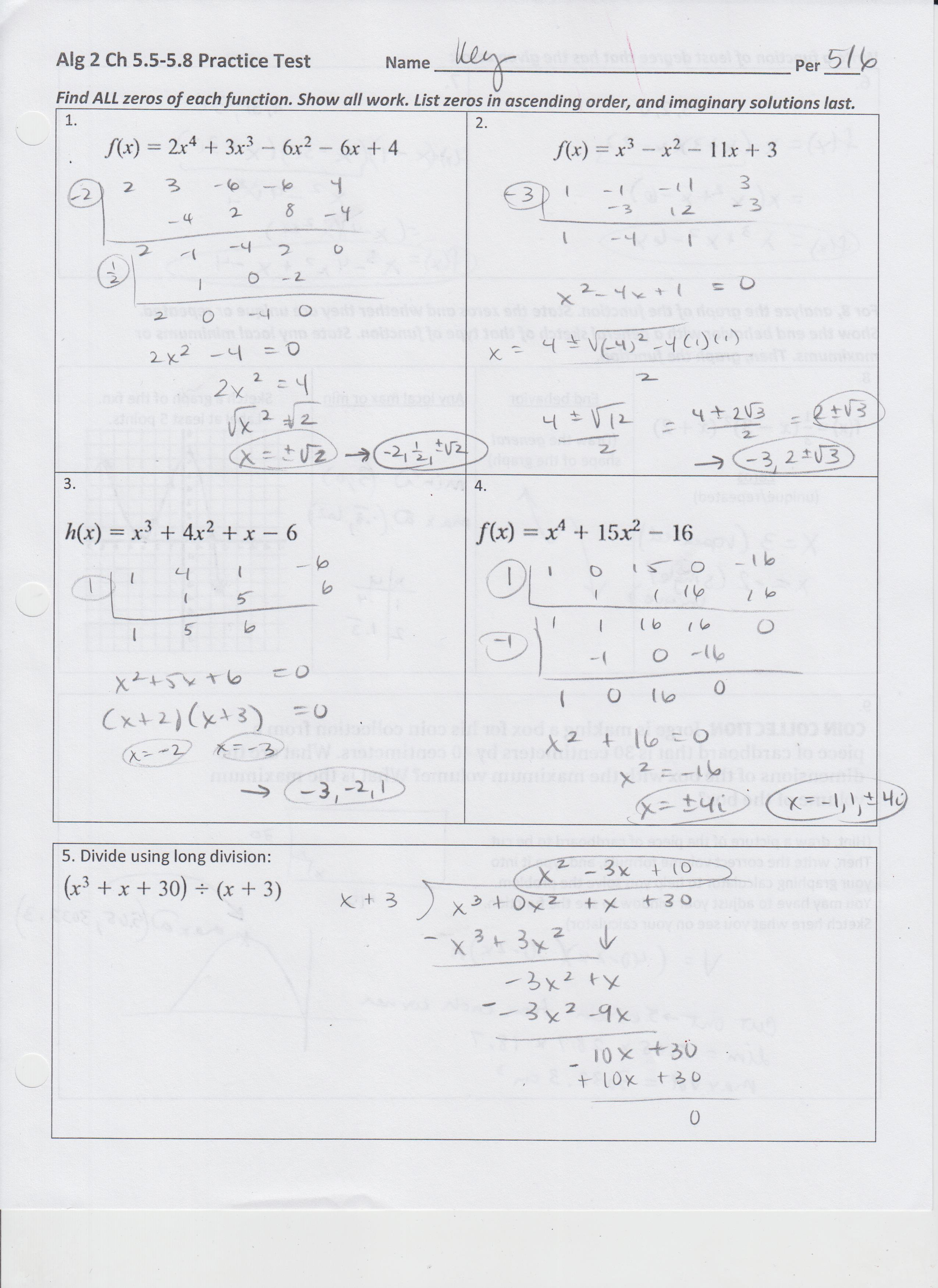 Algebra Worksheet Section 105