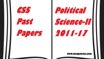 CSS Political Science-I Past Papers pdf 2011-17 - MCQS Study