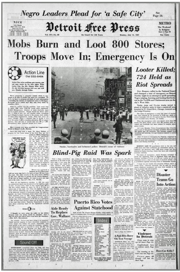 THE DETROIT FREE PRESS: Monday, July 24, 1967 (click on image 2x for largest detailed read)