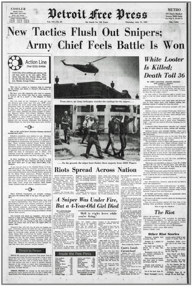 THE DETROIT FREE PRESS: Thursday, July 27, 1967 (click on image 2x for largest detailed read)